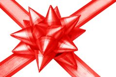 Red acute-angled gift bow Stock Images