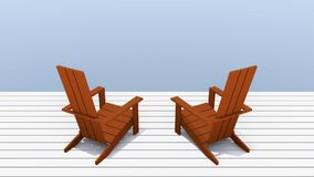 Red Adirondack chairs. 3D illustration red Adirondack chairs with outdoor balcony Stock Photography