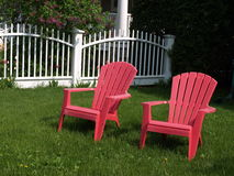Red Adirondack Chairs Royalty Free Stock Photos