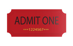 Red admit one ticket Royalty Free Stock Photos
