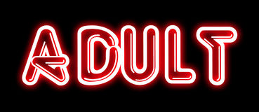 Red ADULT neon sign Stock Photos