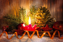 Red  Advent candle. Stock Photo