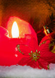 Red advent candle. Royalty Free Stock Image