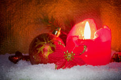 Red advent candle. Royalty Free Stock Photos