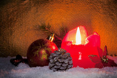 Red advent candle. Royalty Free Stock Images