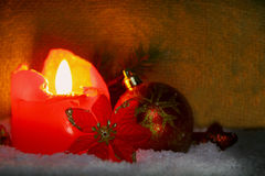 Red advent candle. Stock Photos
