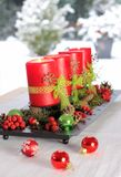 Red Advent Candles Royalty Free Stock Images