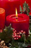 Red advent wreath with candles Stock Photo