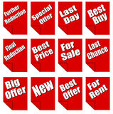 Red advertising sheets stock image