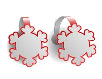 Red advertising wobblers shaped like snowflakes Stock Images