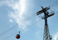 Red aerial tramway Royalty Free Stock Photo