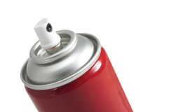 Red aerosol paint can. Closeup of open red aerosol paint can, isolated on white background Stock Photos