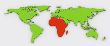 Red Africa in green 3D extruded World Map background. Red African continent highlighted on green color extruded flat world map with shadow on a grey background Royalty Free Stock Photos