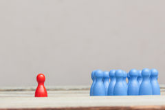 Red against blue concept, crowd of pawns Stock Images