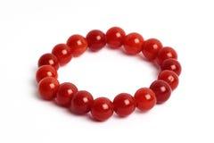 Red of agate, jasper bracelet Stock Images