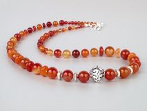 Red agate necklace Stock Images