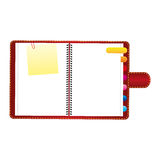 Red agenda with tabs and paper note icon Stock Photos