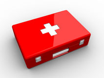 Red aid kit. On white background Royalty Free Stock Image
