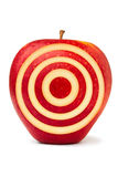 Red aim apple. Red apple with target mark on against white background Stock Images