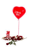 Air ball. Red air ball I love you! White rose petals Stock Photo