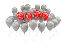 Red air balloons with 2015 New Year sign Stock Photos