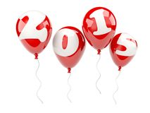 Red air balloons with 2015 New Year sign Royalty Free Stock Photos