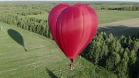 Red air love balloon in heart shape flying over green field at sunny day stock video footage