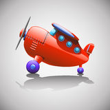 Red airbus. Cartoon illustration of red single airplane standing at floor with shadow Royalty Free Stock Photo