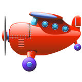 Red airbus. Cartoon illustration of red single airbus flying Stock Photography