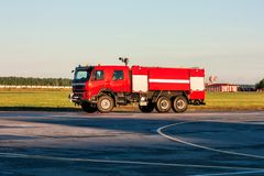 Red airfield fire truck at the airport stock photos