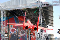 Red airplane. Holiday decoration. Stock Photos