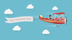 Red airplane pulls advertising banner in the cloudy sky. Colorful flat style  illustration. Red airplane pulls advertising banner in the cloudy sky Royalty Free Stock Image