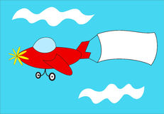 Red airplane pulls blank banner Stock Photography