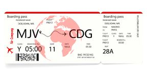 Red airplane ticket. Boarding pass ticket template. Vector illustration royalty free illustration
