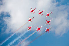 Red airplanes at airshow stock photography