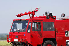 Red airport fire engine. Emergency vehicle close up royalty free stock images