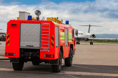 Red airport fire truck Royalty Free Stock Photos