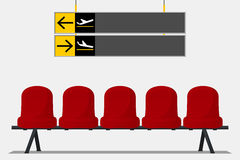 Red airport seat in waiting room. Wayfinding signage. Chair icon. Vector. Royalty Free Stock Photo
