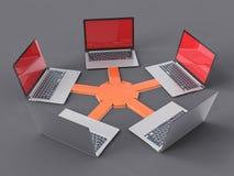 red aislada 3D LAN Data Laptops Trabajo en equipo Conce de la información Foto de archivo libre de regalías