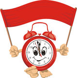 Red alarm clock. Wake up, the clock bell rings, red banner, walking clock Stock Photography