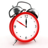 Red alarm clock 3d. Icon.  on white Stock Photography