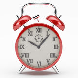 Red alarm clock. The alarm clock as a symbol of the rush of the modern world Stock Photography
