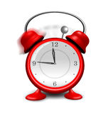 Red alarm clock close up, isolated on white backgr Royalty Free Stock Photos
