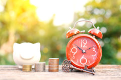 Red alarm clock with coin on old wood. Tree bokeh background,color of vintage tone selective focus, concept save money Royalty Free Stock Photos