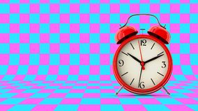 Red alarm clock. 3D render. Red alarm clock on abstract background. 3D render Royalty Free Stock Image