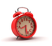Red Alarm clock. 3D rendering. Royalty Free Stock Images
