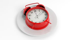 Red alarm clock with fork and knife pointers on plate. On white background Royalty Free Stock Photos