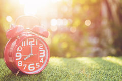 Red alarm clock on green grass with sunlight blur and bokeh back Stock Image