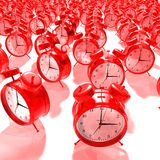 Red alarm clock group. 3D render Royalty Free Stock Photo