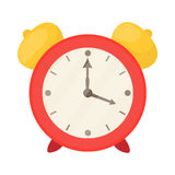 Red alarm clock icon, cartoon style Royalty Free Stock Photos